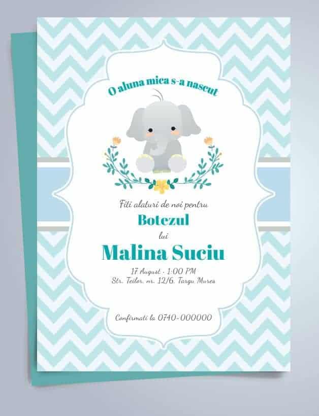 Invitatie Botez Tema Elefant Pentru Baiat Sau Fata Einvitatiiro