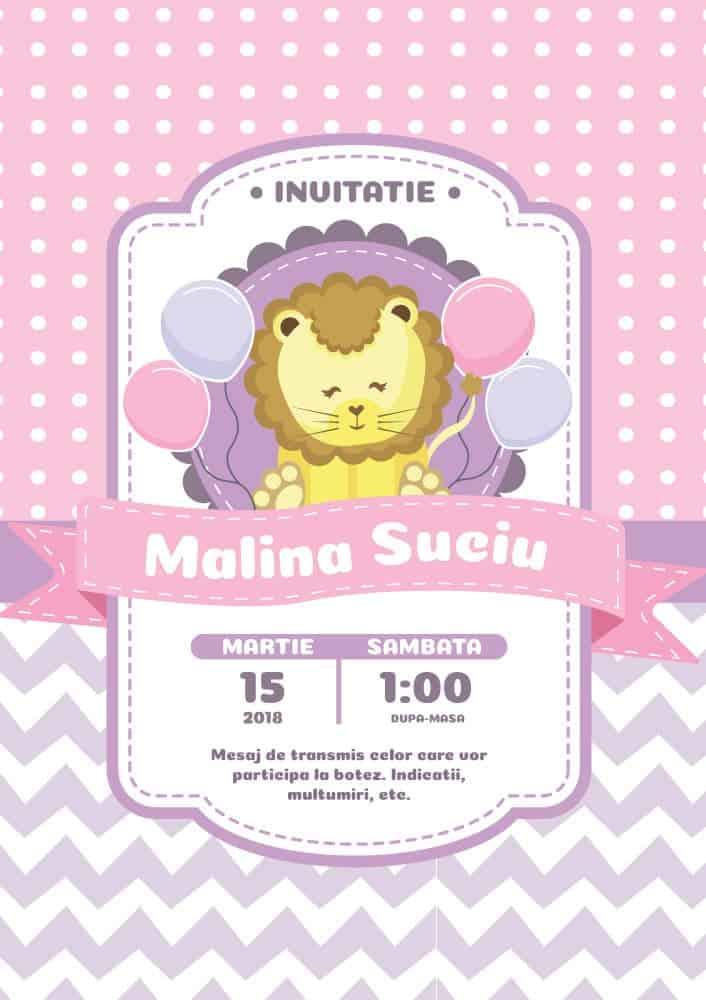 Invitatie Botez Tema Leu Pentru Fata Sau Baiat Einvitatiiro