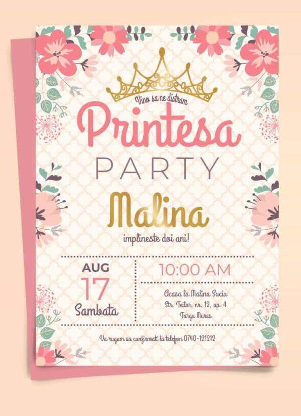 Invitatie zi de nastere, tema Printesa, pentru fata