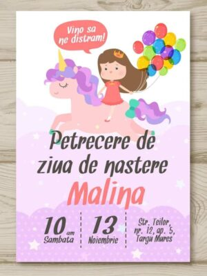 Invitatie zi de nastere, tema Unicorn, pentru fata