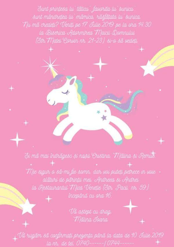 Invitatie Unicorn, zi de nastere, pentru fata