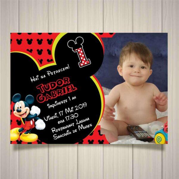 Invitatie Mickey, zi de nastere, pentru baiat