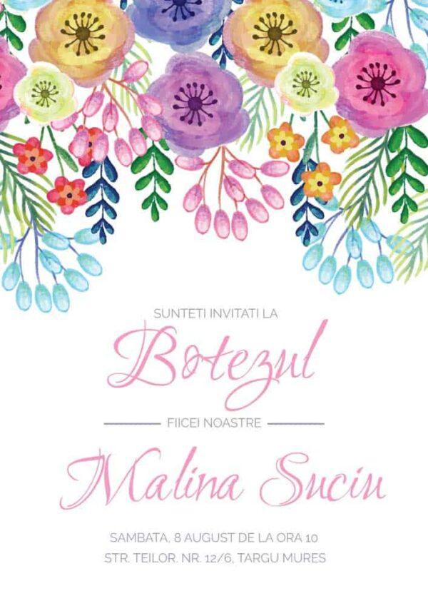 Invitatie botez, tema flori, pentru fata