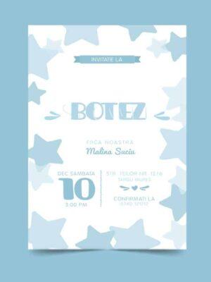Invitatie botez, tema stelute, pentru baiat sau fata