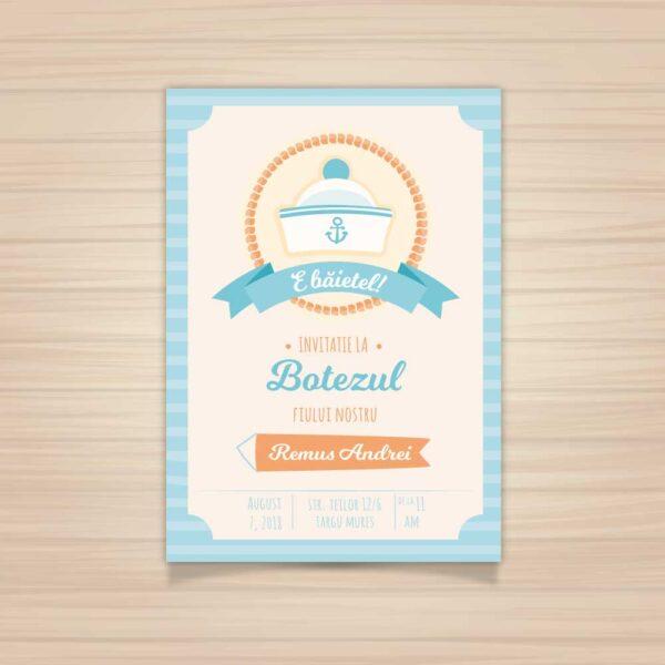 Invitatie botez, tema marinar, pentru baiat