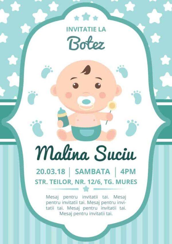 Invitatie botez, tema bebe, pentru baiat sau fata