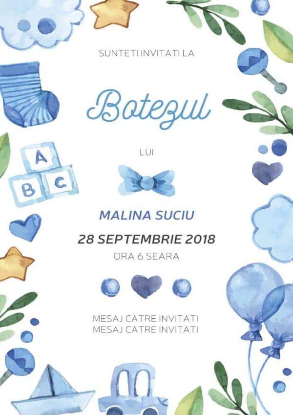 Invitatie botez, tema jucarii, pentru baiat sau fata