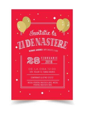 Invitatie zi de nastere, tema baloane, pentru baiat sau fata