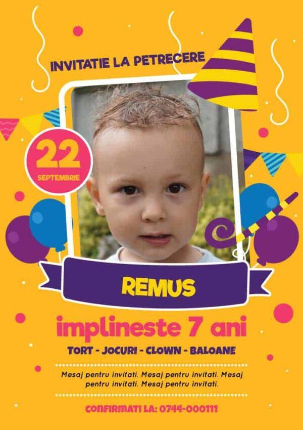 Invitatie zi de nastere cu poza, tema baloane