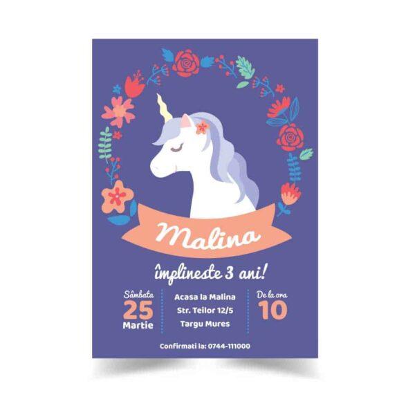 Invitatie zi de nastere, tema unicorn, pentru fata sau baiat
