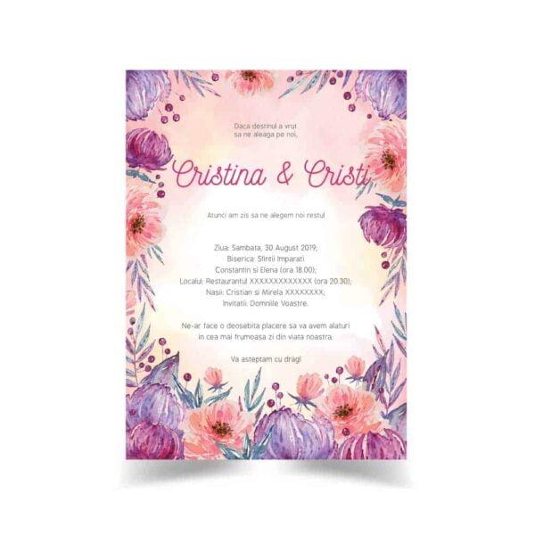 Invitatie nunta, tema flori 025