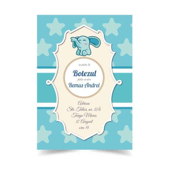 Invitatie botez, tema elefant, pentru baiat sau fata