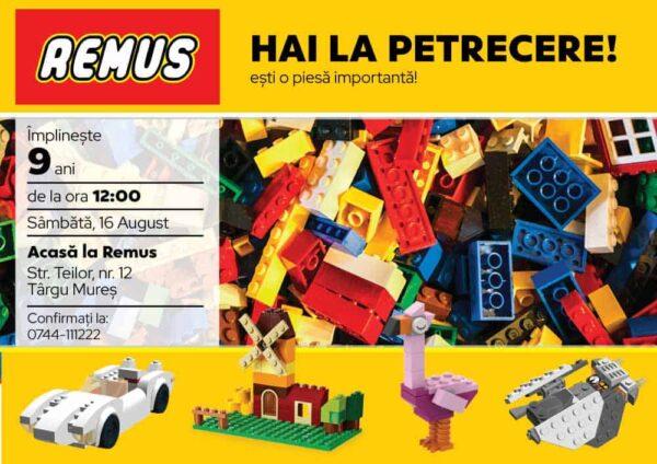 Invitatie Lego, zi de nastere, pentru baiat sau fata