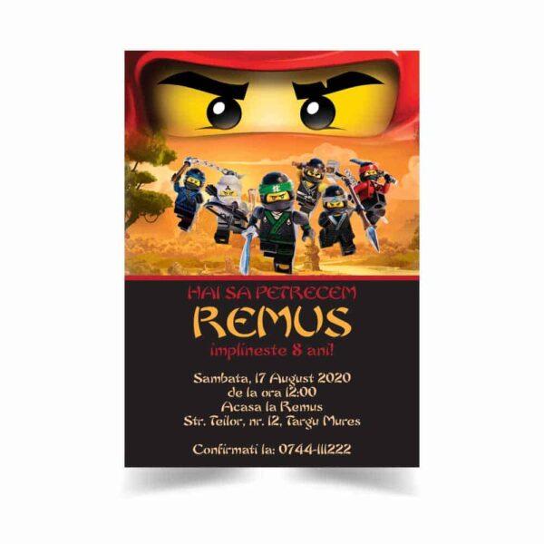 Invitatie Lego Ninjago, zi de nastere, pentru baiat