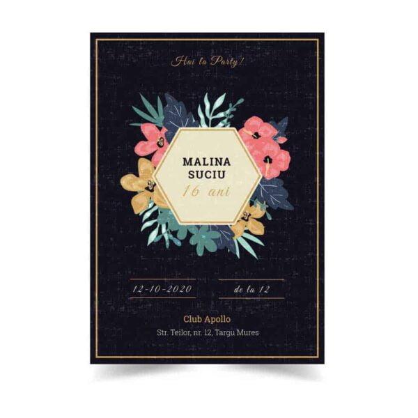 Invitatie zi de nastere, tema flori, pentru fata