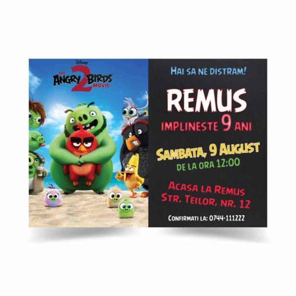 Invitatie Angry Birds, zi de nastere, pentru baiat sau fata