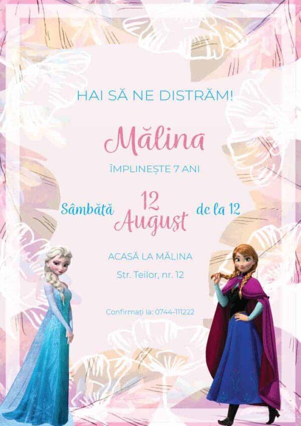 Invitatie Frozen, zi de nastere, pentru fata