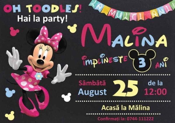 Invitatie Minnie, zi de nastere, pentru fata