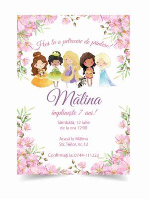 Invitatie Printese, zi de nastere, pentru fata