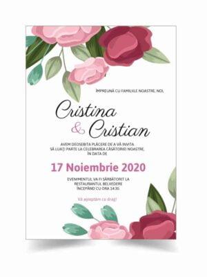 Invitatie nunta, tema flori