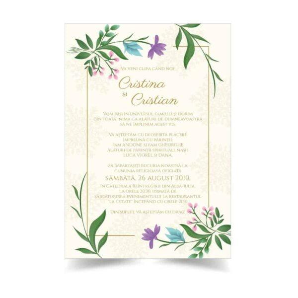 Invitatie nunta cu flori si fundal crem
