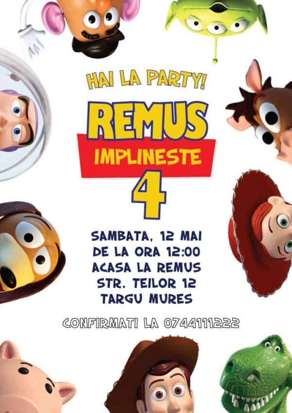 Invitatie Toy Story, zi de nastere, pentru baiat sau fata